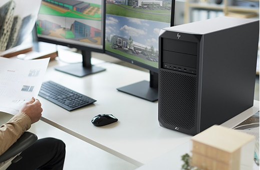 HP Z2 SFF tower in an office.