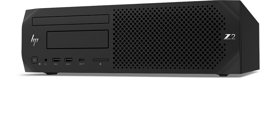 HP Z3 SFF workstation front view, left facing.