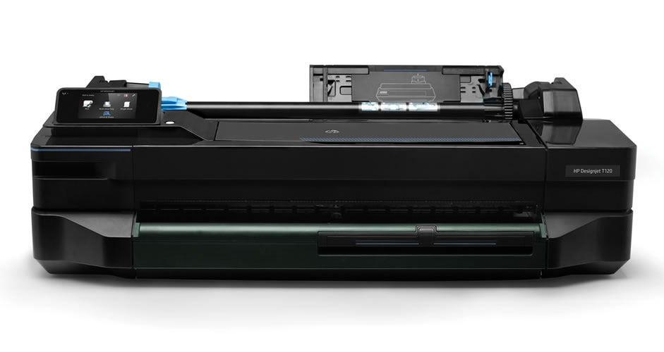 Top view of the HP DesignJet T120 Printer display and front-loading roll