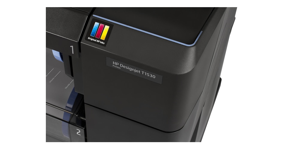 Close-up view of the access door to the HP DesignJet T1530 printer ink cartridges