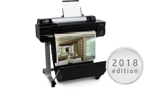 HP DesignJet T520 24-inch Printer with architectural drawing