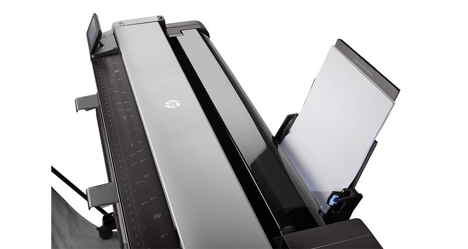 Close-up view of top of HP DesignJet T830 Printer