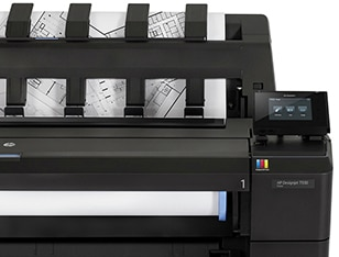 Close-up and front view of the HP DesignJet T930 Printer