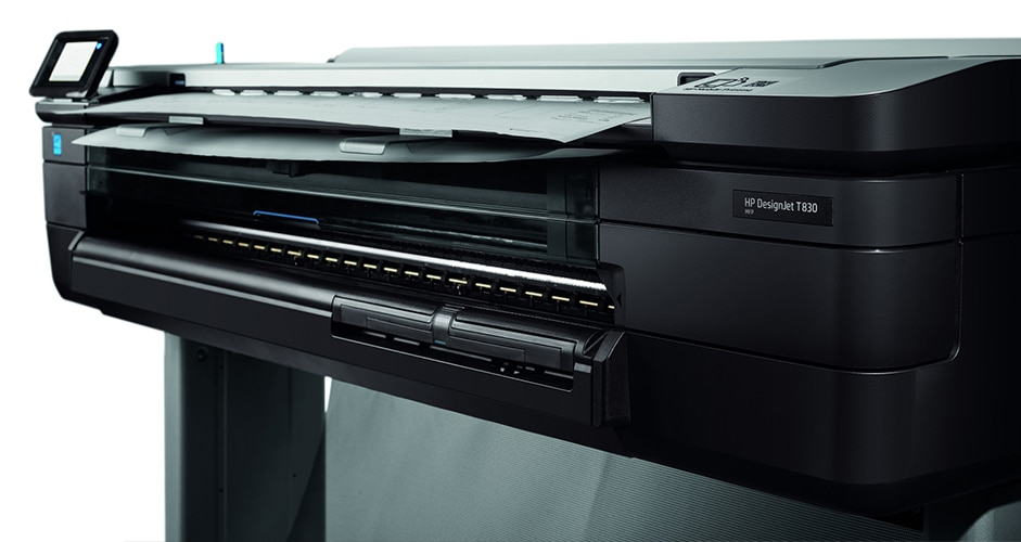 Close-up view of front of HP DesignJet T830 Printer