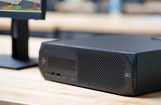 HP Z2 Small Form Factor front view, left facing, on side.