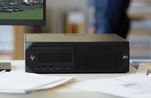HP Z2 Small Form Factor front view, laying on side