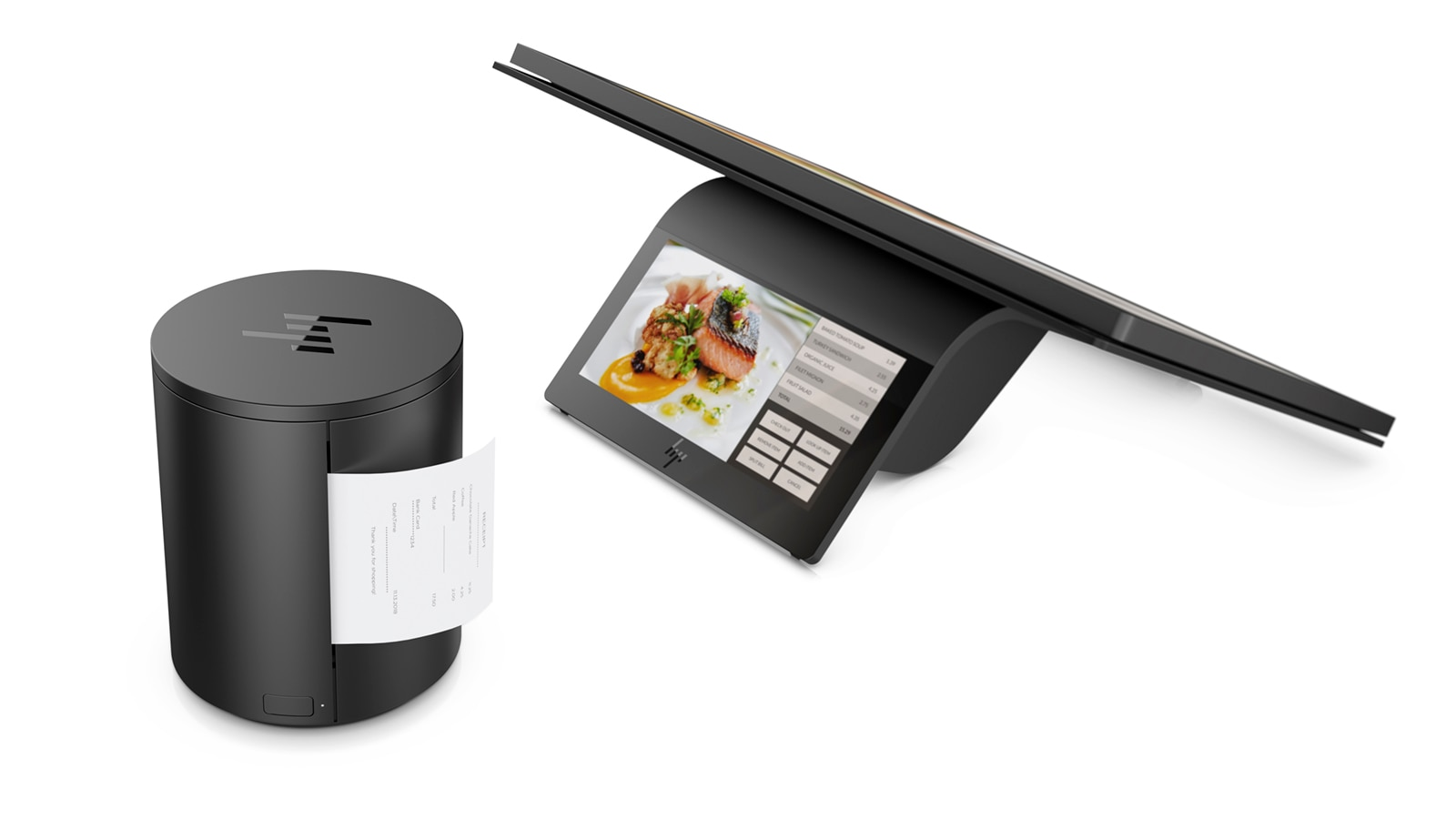 HP Engage One Prime with HP USB Thermal Printer printing a receipt