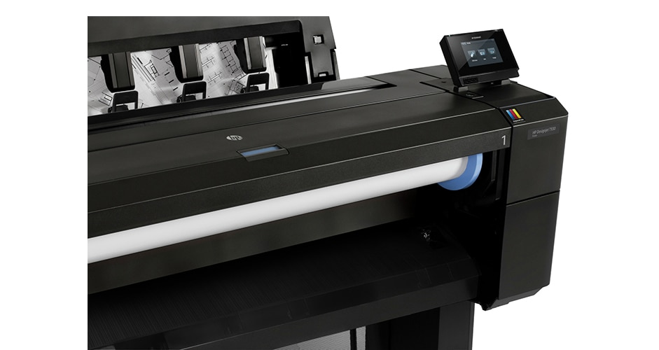 Close-up and side view of the HP DesignJet T930 Printer