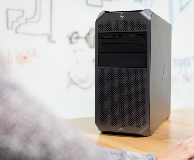 HP Z2 Tower workstation in an office.