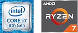 Intel Core i7 8th Gen and AMD Ryzen 7 icons