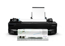 HP DesignJet T120 Printer front with printed output