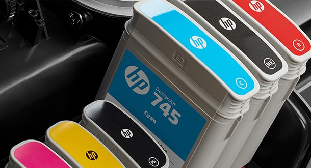 HP color ink cartridges inside printer