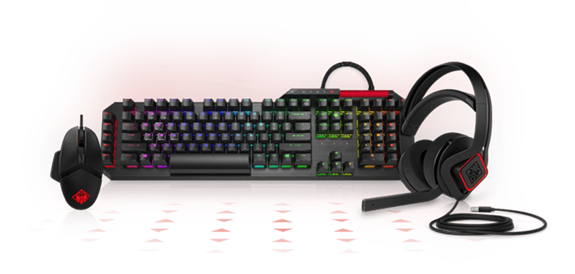 OMEN headset, mouse, keyboard, mouse pads