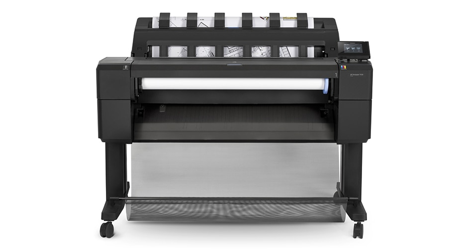 Front view of the HP DesignJet T930 Printer with architectural drawing output