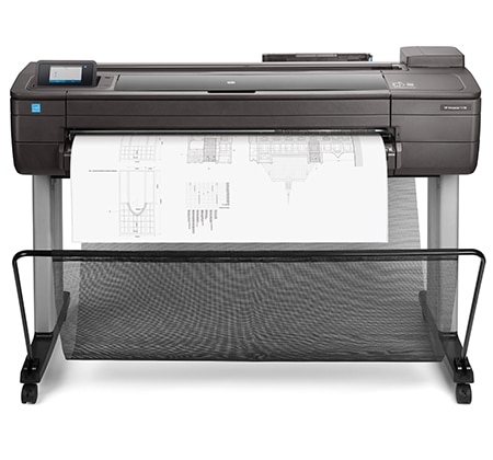 HP DesignJet T730 printer plotter with architectural drawing output