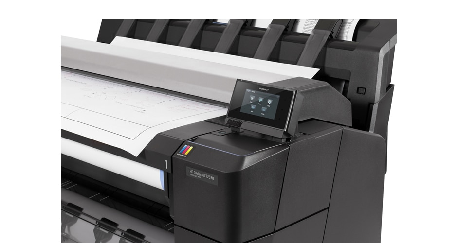 Close-up view of the HP DesignJet T2530 Printer showing the touchscreen display