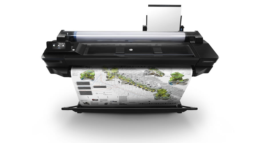 HP DesignJet T520 Printer with colorful map output