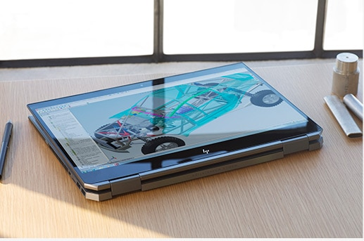 HP ZBook Studio x360 tablet mode in the workplace