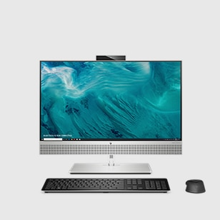 hp elite all-in-one in windows10 pro desktop screen with wireless keyboard and mouse