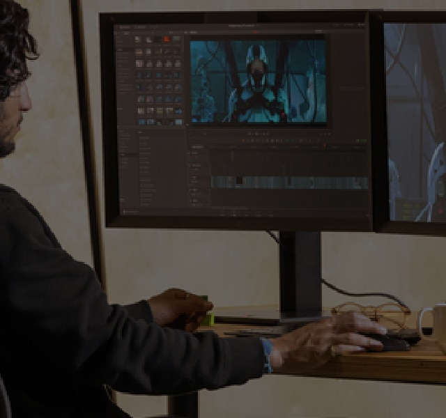 Video Editor working at his desk using a Z4