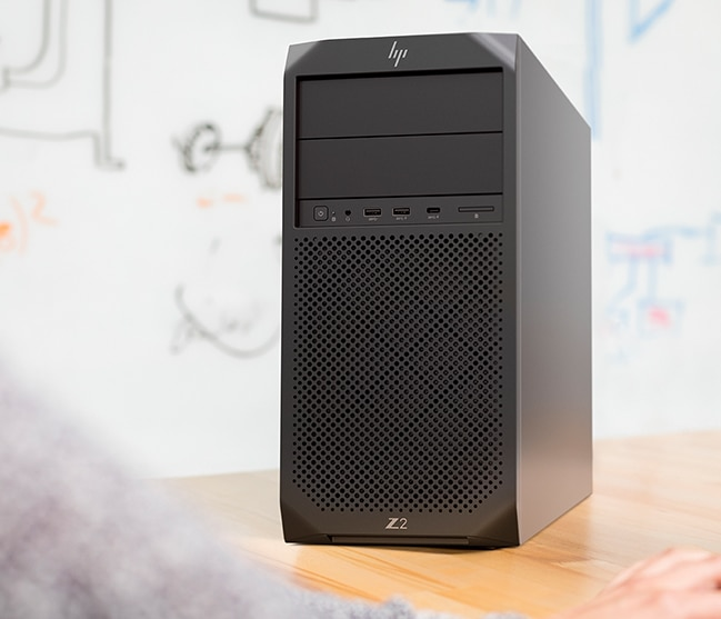 HP Z2 SFF Tower workstation on a desk.