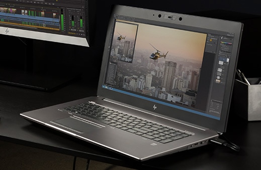 Zbook 15 laptop workstation open with product video editing software on screen.