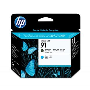 HP 91 Matte Black and Cyan DesignJet Printhead
