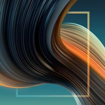 graphic design, green and orange waves