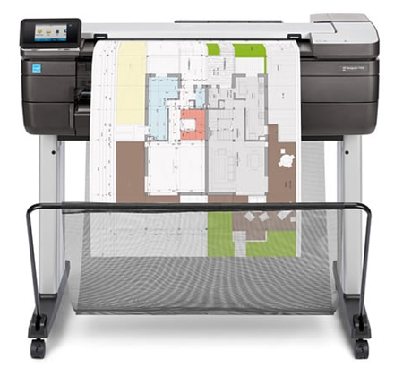 HP DesignJet T830 multifunction printer with architectural drawing output