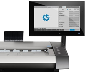 Close-up view of the HP HD Pro 42-in Scanner showing the touchscreen display