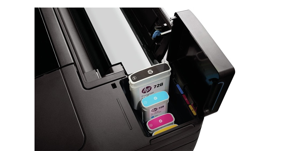 Close-up view of HP DesignJet T830 Printer ink cartridges