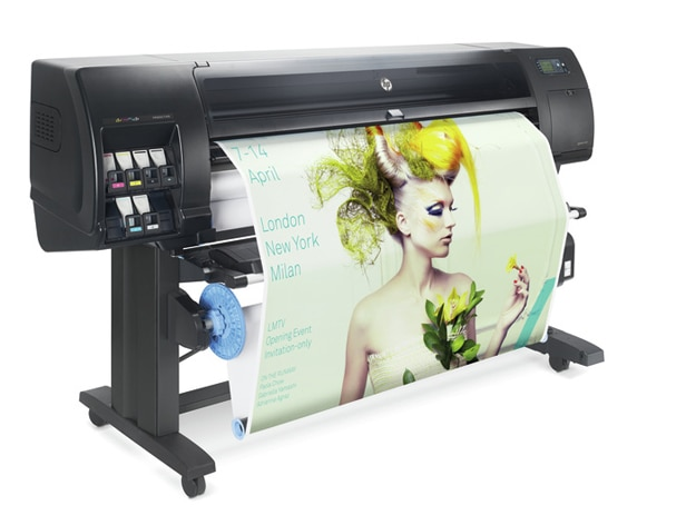 HP DesignJet Z6610 Production Printer with gold fashion ad for output