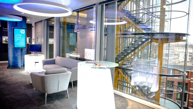 image of London's welcome center with a view of stairs and the city