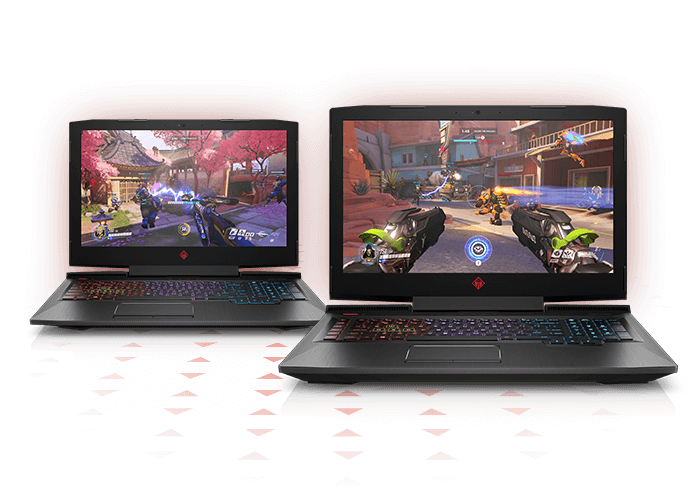 OMEN Laptops open front facing with games on screen