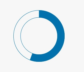 Icon of a circle graphic to represent 56%