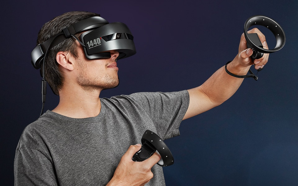 HP Windows Mixed Reality Headset  Controllers in use
