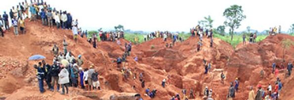 image of people around a mine