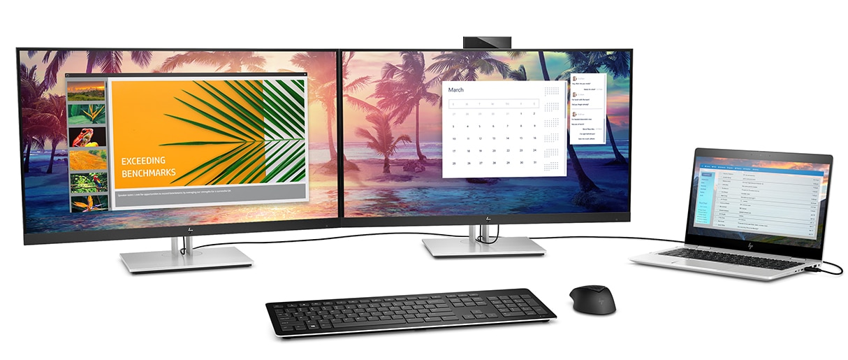 Two HP EliteDisplay E-Series monitors side-by-side with image extending