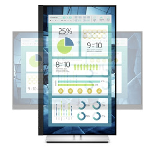 HP EliteDisplay E-Series monitor rotated 90 degrees