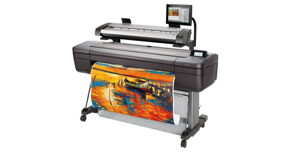 Side view of the HP DesignJet HD Pro Multifunction Printer with maps drawing output