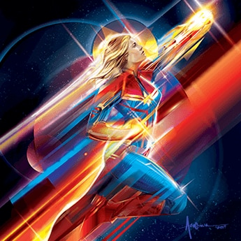 captain marvel flying illustration