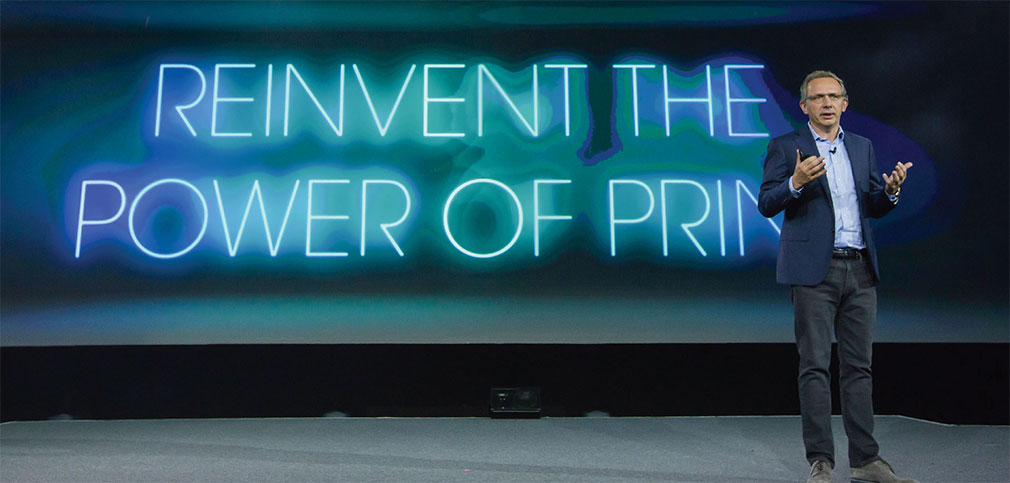 Image of Enrique Lores, President, Imaging & Printing Business, HP, speaking at Reinvent World Partner Forum 2017