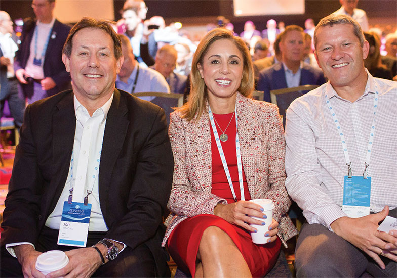 Image of Jon Flaxman, HP COO, Kim Rivera, Chief Legal Officer, and Christoph Schell, Preseident, Americas Region attending Reinvent World Partner Forum 2017