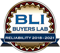 Buyers Lab award logo for reliability 2018 through 2021