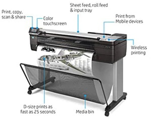 "HP DesignJet T830 Large Format Multifunction Wireless Plotter Printer - 36"", with Mobile Printing (F9A30A)"