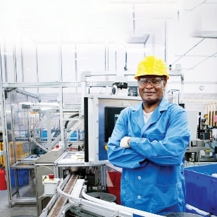 man in the production plant