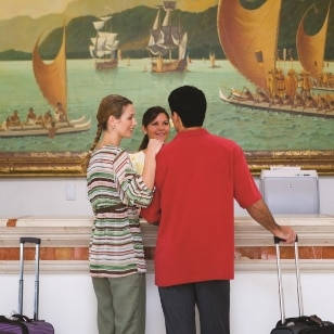 couple checking-in the hotel