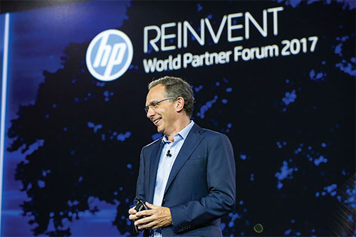 Enrique Lores, President President of Imaging & Printing Business at HP, speaking at the HP Reinvent World Partner Forum 2017