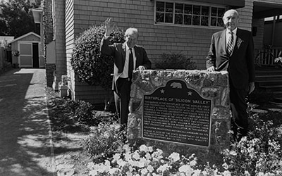 Bill and Dave at the dedication of the HP Garage, California Historical Landmark 976, Birthplace of Silicon Valley, 1989