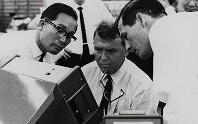 Bill Hewlett sees new products developed in Japan, 1969.